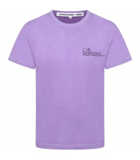 Lilac T-shirt for kids with logo