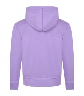 Lilac sweatshirt for kids with logo