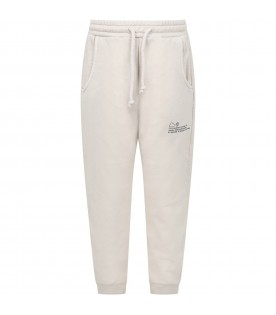 Beige sweatpants for kids with logo