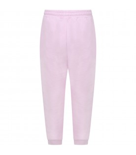 Pink sweatpants for kids with logo