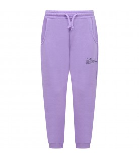 Lilac sweatpants for kids with logo