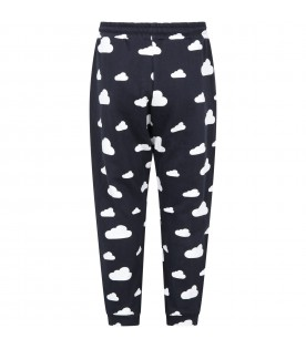 Blue-black sweatpants for kids with clouds