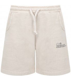 Beige short for kids with logo