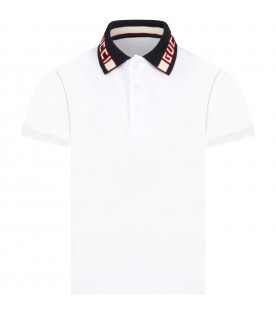 White polo t-shirt for kids with logo
