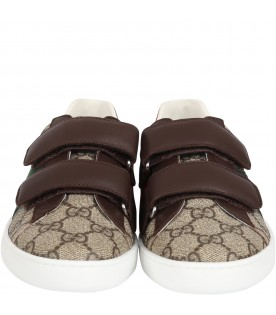Beige sneakers for boy with logo