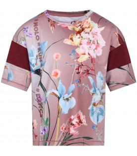 "Pink T.shirt ""Odessa"" for girl with flowers"