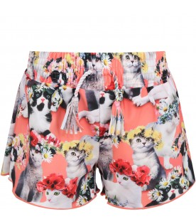 "Multicolor shorts ""Nicci"" for girl with cats"