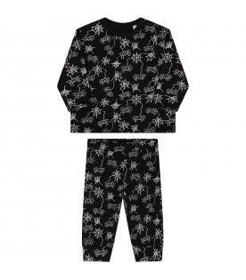 Black tracksuit for babyboy with spiders
