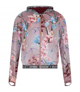 "Pink windbreaker ""Ophelia"" for girl with flowers"