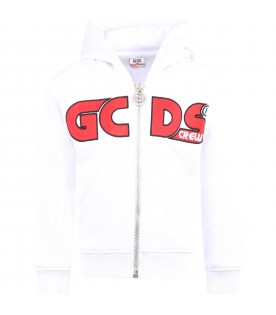 White sweatshirt for kids with red logo