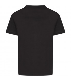 Black t-shirt for boy with silver logo