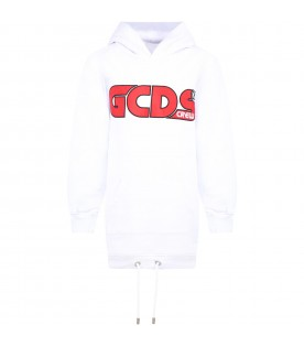White sweatshirt for girl with red logo