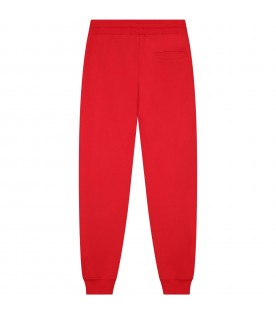 Red sweatpants pour boy with white logo