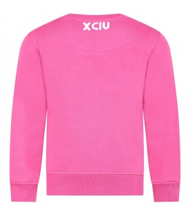 Fuchsia sweatshirt for girl with white logo