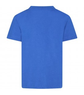 Blue t-shirt for kids with silver logo