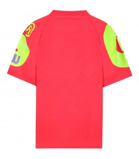 Red t-shirt for kids with green logo