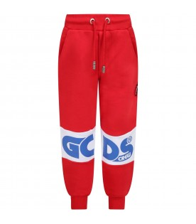 Red sweatpants for boy with blue logo