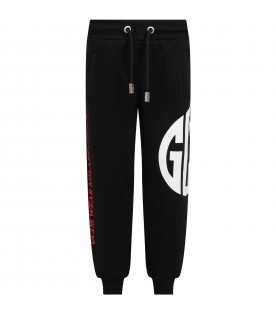 Black sweatpants for boy with logo