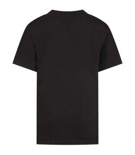 Black t-shirt for kids with silver logo