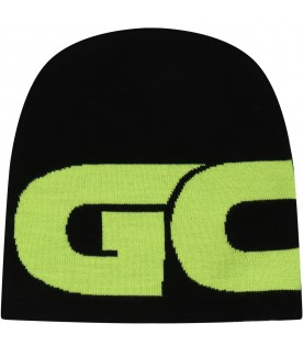 Black hat for kids with neon yellow logo