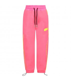 Pink neon sweatpants for girl with logo