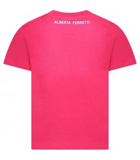 Fuchsia T-shirt for girl with writing