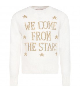 Ivory sweater for girl with gold writing