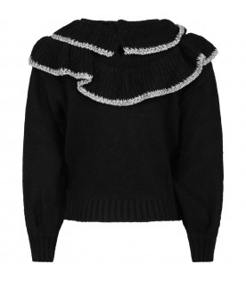 Black sweater for girl with ruffles