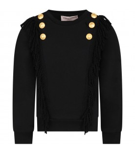 Black sweatshirt for girl with fringes