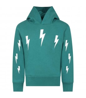 Green sweatshirt for boy with thunders