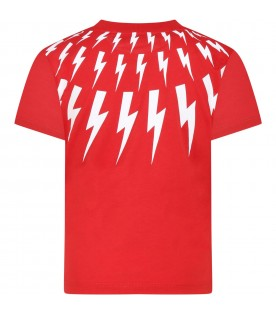 Red T-shirt for boy with thunders