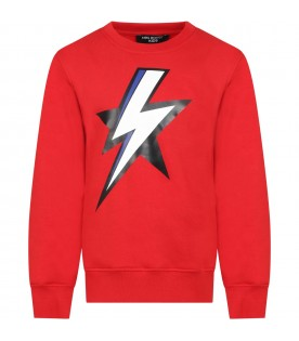 Red sweatshirt for boy with thunder