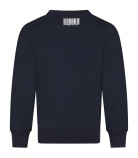 Blue sweat-shirt for boy with logo