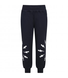 Blue sweatpants for boy with thunders