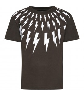 Green T-shirt for boy with thunders