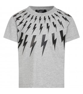 Grey T-shirt for boy with thunders