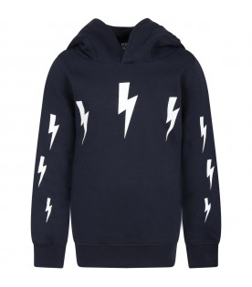 Blue sweatshirt for boy with thunders