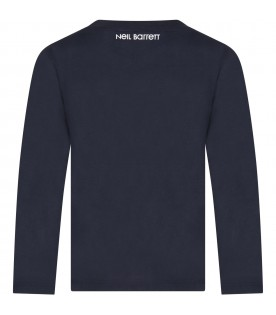 Blue T-shirt for boy with thunders
