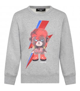Grey sweatshirt for kids with bear