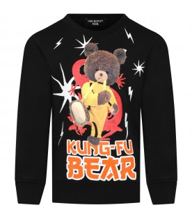 Black sweatshirt for kids with bear