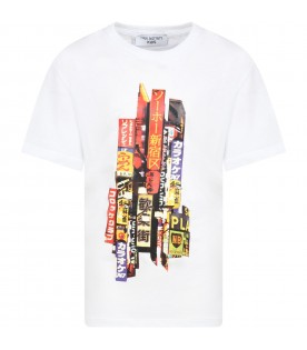 White T-shirt for boy with print