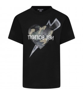 Black t-shirt for boy with heart
