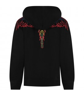 Black sweatshirt for kids with colorful wings