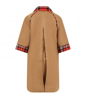 Camel trench for kids with patch