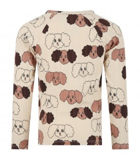 Beige T-shirt for kids with dogs