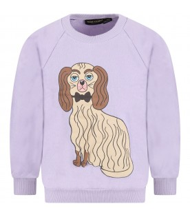 Purple sweatshirt for kids with colorful dog