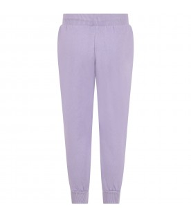 Purple sweatpants for kids with dog