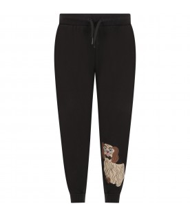 Grey sweatpants for kids with dog