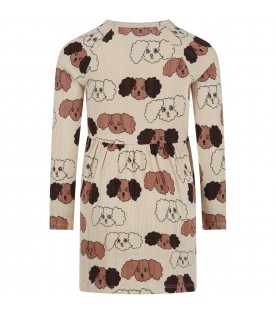Beige dress for girl with dogs
