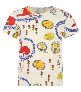 Ivory T-shirt for kids with dogs and flowers
